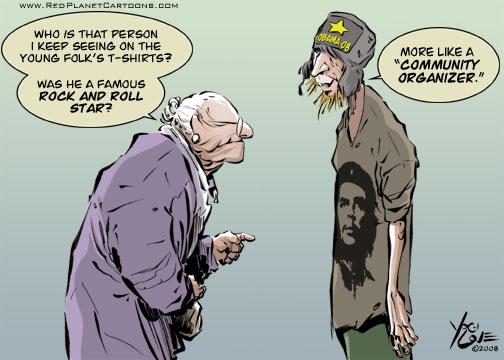 Caricatura aparecida en junio de 2008 en la que se hace un símil entre la propuesta de cambio de Obama y la del Che