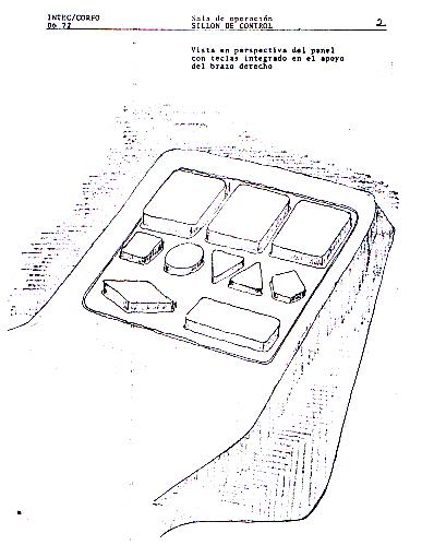Boceto del brazo/consola con botones de operación.